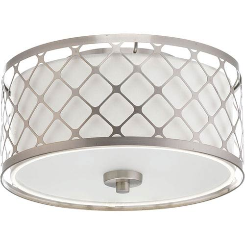 Mingle Brushed Nickel LED 11-Inch One-Light Flush Mount with Fabric Shade
