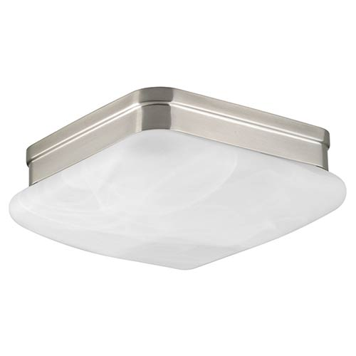 Appeal Brushed Nickel Two-Light Flush Mount with Etched Alabaster Glass Square Diffuser