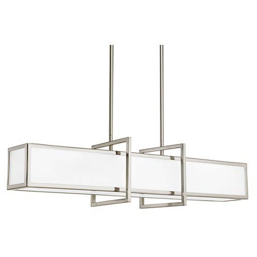 Haven Brushed Nickel Four-Light Linear Mini Pendant with Etched Glass Panel