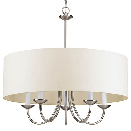 Brushed Nickel Five-Light Chandelier with Off White Linen Fabric Shade