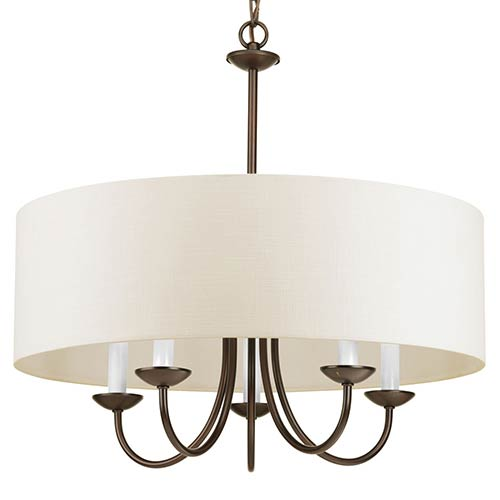 Antique Bronze Five-Light Chandelier with Off White Linen Fabric Shade