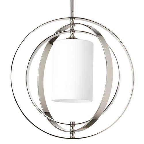 Equinox Polished Nickel One-Light Medium Hall and Foyer Pendant