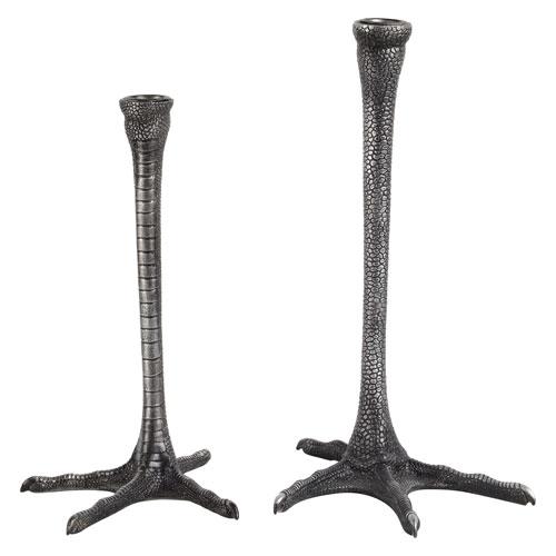 Thornby Distressed Black Finish Leg Candle Holder