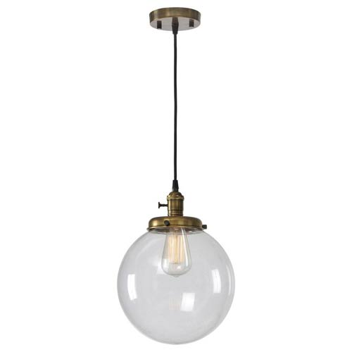 Ren-Wil Antonio Antique Brass 10-Inch One Light Mini Pendant