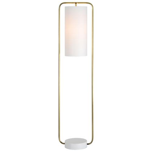 Simpson Antique Brass and Cream Floor Lamp