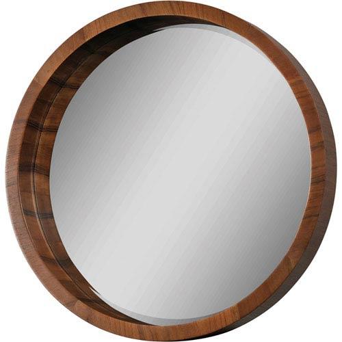 Circular Walnut Veneer Mirror