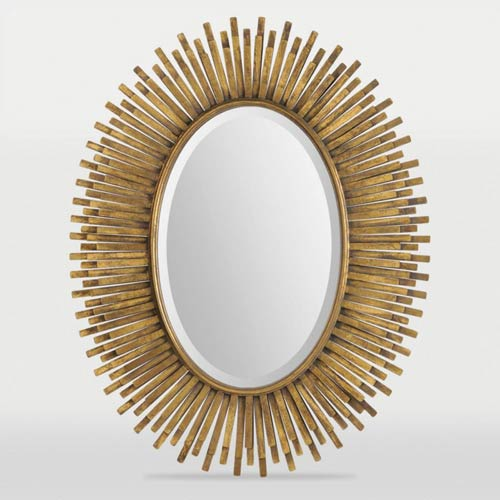 Ren Wil Sparta Antique Gold Leaf Oval Beveled Mirror With Metal Frame