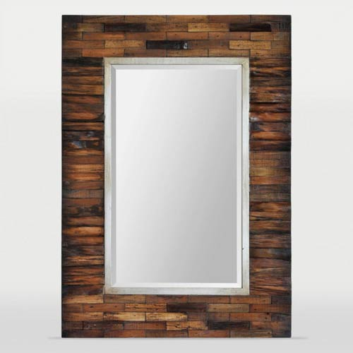 Ren-Wil Pretoria Natural Wood and Silver Lined Rectangular Mirror