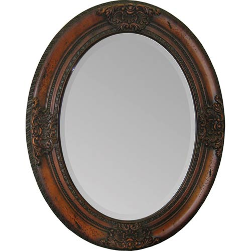 Ren-Wil Cherry Chelseas Cherry Wood 24-Inch Oval Mirror