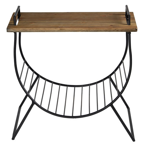 Collier Iron and Wood Side Table