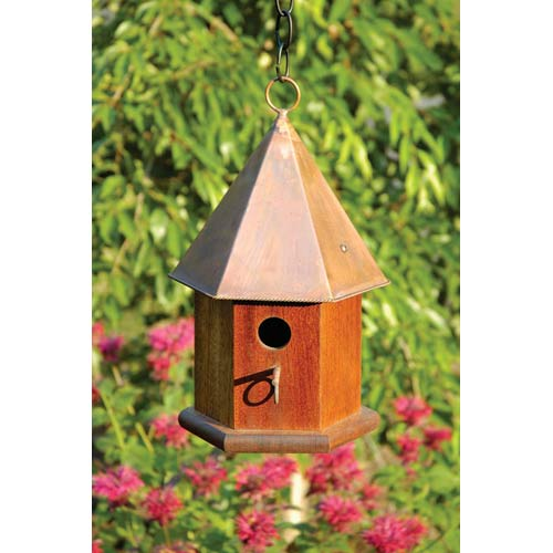 Copper Songbird Solid Mahogany With Shiny Copper Roof Birdhouse