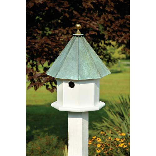Oct-Avian White With Verdi Copper Roof Birdhouse