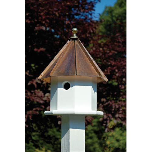 Oct-Avian White With Brown Copper Roof Birdhouse