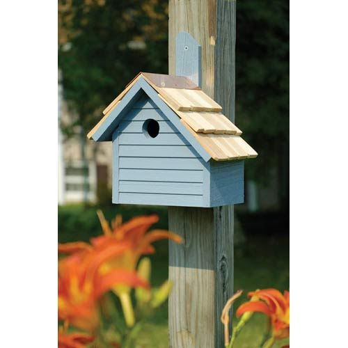 Cape Cod Wren Blue Pickle Birdhouse