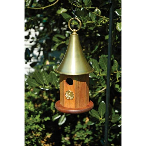 Highland Park Mahogany Wood With Brass Roof Birdhouse