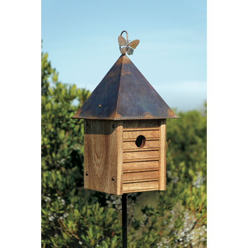 Heartwood Homestead Solid Mahogany Birdhouse with Copper Roof