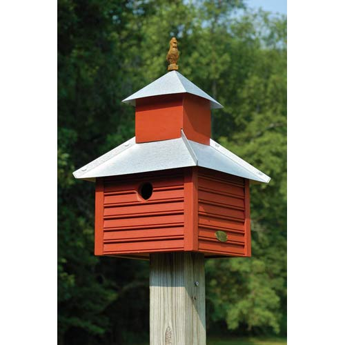 Rusty Rooster Redwood With Galvanized Roof Birdhouse