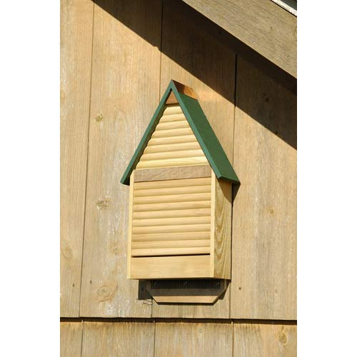Heartwood Bat Lodge Natural Cypress With Green Roof Bat House