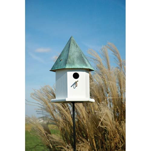 Copper Songbird Deluxe White With Verdi Copper Roof Birdhouse