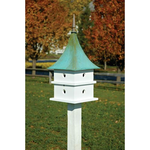 Cypress Landing White With Verdi Copper Roof Birdhouse