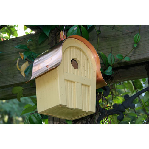 Heartwood Twitter Junction Yellow Birdhouse with Copper Roof
