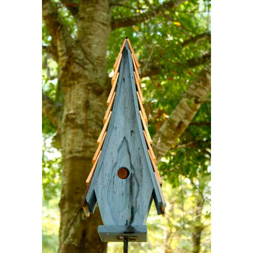 High Cotton Blue Birdhouse with Multi-Colored Roof