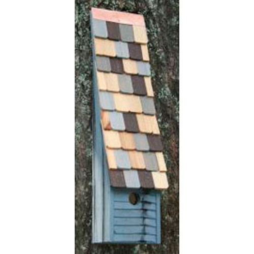 Jacobs Ladder Blue Birdhouse with Multi-Colored Roof