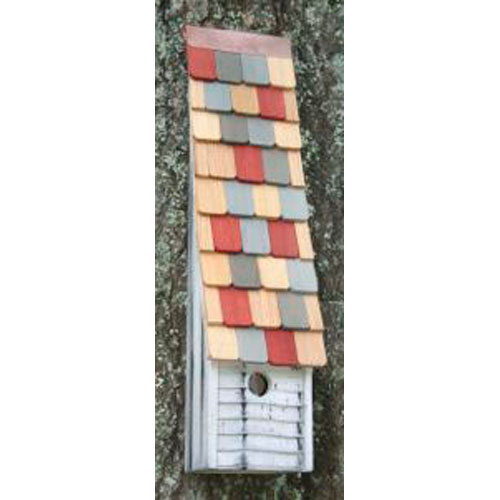 Jacobs Ladder White Birdhouse with Multi-Colored Roof