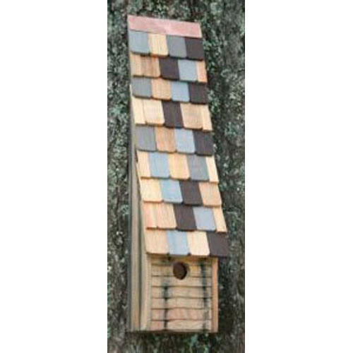 Jacobs Ladder Natural Birdhouse with Multi-Colored Roof