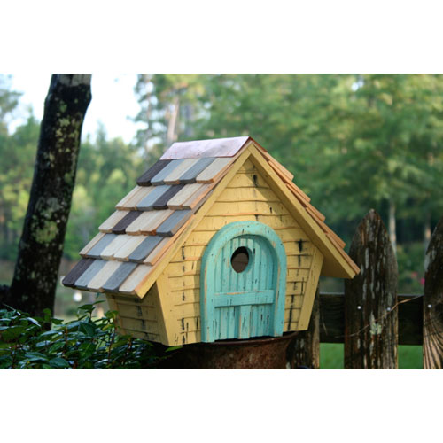 Prairie Home Yellow Birdhouse with Light Blue Door