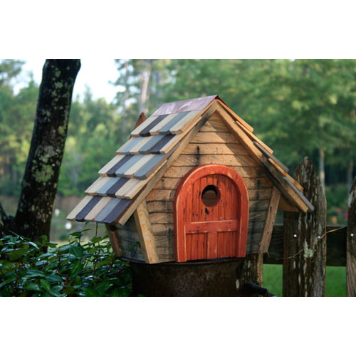 Heartwood Prairie Home Natural Birdhouse with Red Door