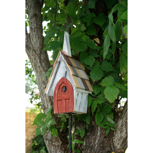 Heartwood Flock of Ages White Birdhouse with Red Door