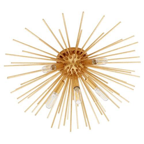 Electra Gold Leaf Five-Light Ceiling Mount