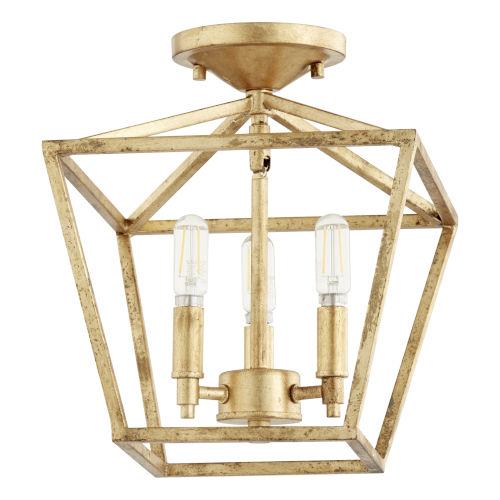 Gabriel Gold Leaf Three-Light Convertible Flush Mount