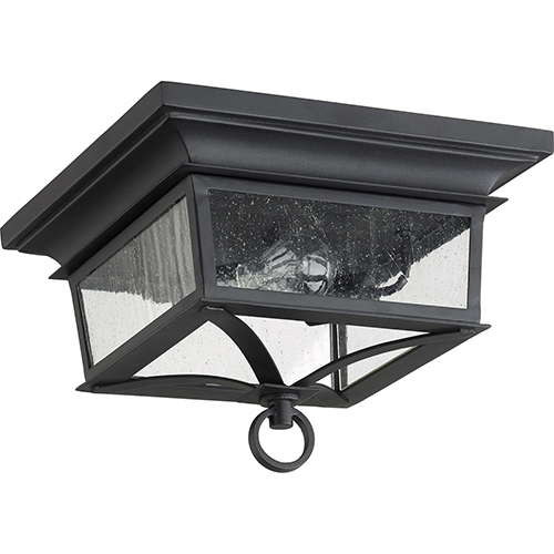 Quorum International Pavilion Black Two Light Outdoor Ceiling Mount