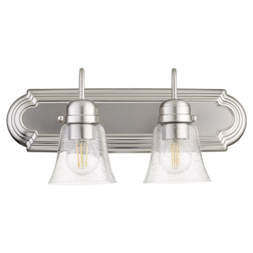 Satin Nickel and Clear Seeded Two-Light Bath Vanity