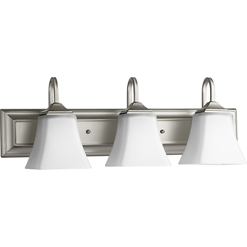 Satin Nickel and Satin Opal 24-Inch Three-Light Vanity