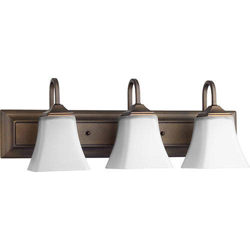 Oiled Bronze and Satin Opal 24-Inch Three-Light Vanity