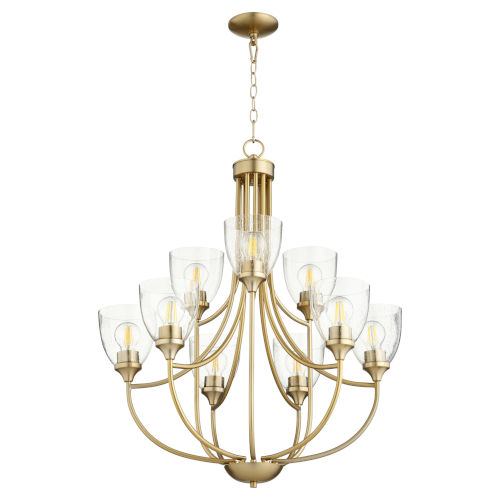 Enclave Aged Brass with Clear 27-Inch Nine-Light Chandelier
