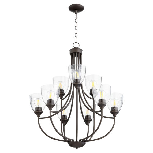 Enclave Oiled Bronze with Clear 27-Inch Nine-Light Chandelier