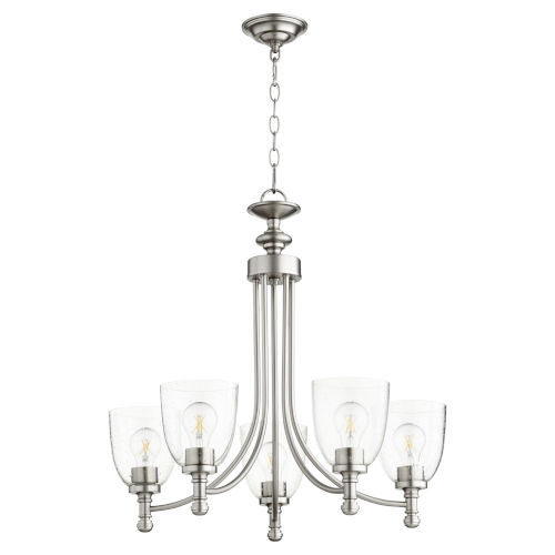 Rossington Satin Nickel with Clear 25-Inch Five-Light Chandelier