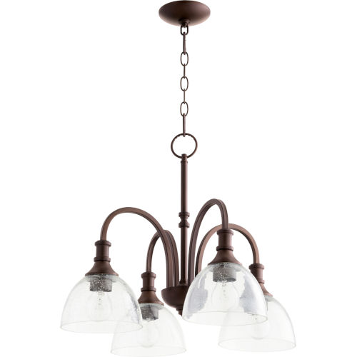 Richmond Oil Bronze and Clear Seeded Four-Light Pendant