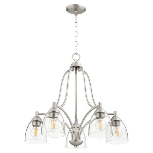 Barkley Satin Nickel with Clear 24-Inch Five-Light Nook Pendant
