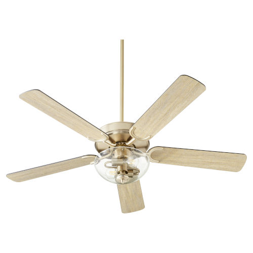 Virtue Aged Brass Two-Light 52-Inch Ceiling Fan with Clear Seeded Glass Bowl