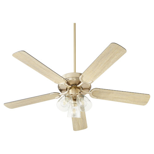 Virtue Aged Brass Three-Light 52-Inch Ceiling Fan with Clear Seeded Glass