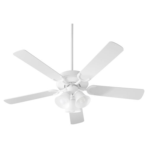 Virtue Studio White Three-Light 52-Inch Ceiling Fan with Satin Opal Glass