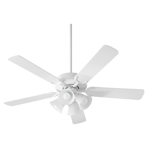 Virtue Studio White Four-Light 52-Inch Ceiling Fan with Satin Opal Glass