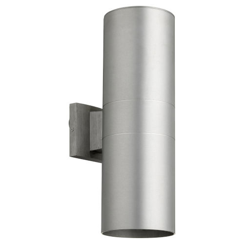 Cylinder Brushed Aluminum Two-Light 6-Inch Outdoor Wall Mount