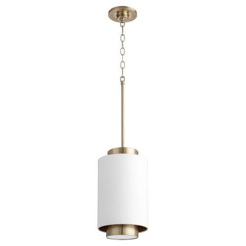 Studio White and Aged Brass One-Light 14-Inch Mini Pendant
