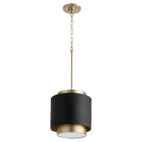 Noir and Aged Brass One-Light 11-Inch Pendant